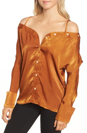 Alpha & Omega Satin Off the Shoulder Blouse