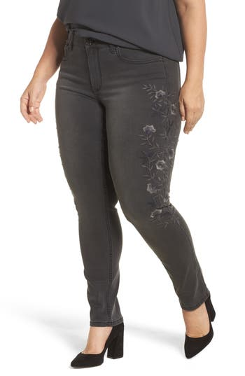 Seven7 Floral Embroidery Skinny Jeans (Perses) (Plus Size)