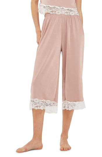 Topshop Satin & Lace Culotte Pajama Bottoms