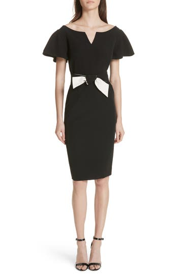 Tina Belted Cady Sheath Dress by Milly