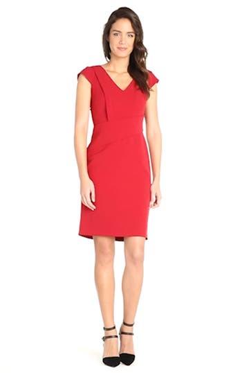 Asymmetric Waist Stretch Crepe Sheath Dress, video thumbnail