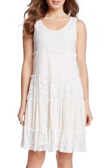 Karen Kane 'Tara' Tiered Lace A-Line Dress