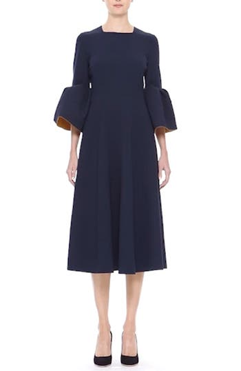 Turlin Flounce Sleeve Midi Dress, video thumbnail