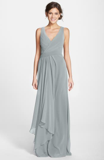 Monique Lhuillier Bridesmaids Sleeveless V-Neck Chiffon Gown (Nordstrom Exclusive)