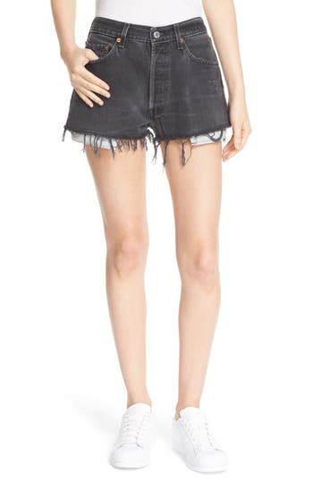 Re/Done 'The Black High Rise' Reconstructed Denim Shorts