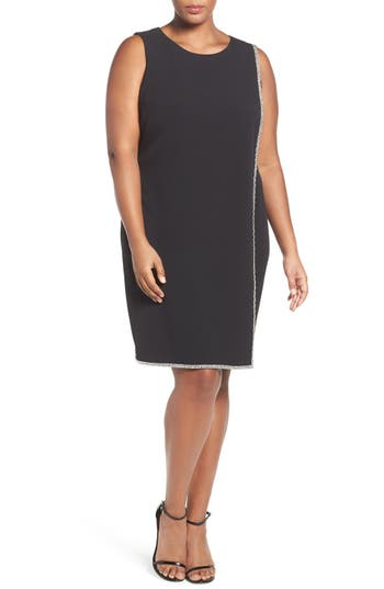 London Times Crystal Trim Shift Dress (Plus Size)