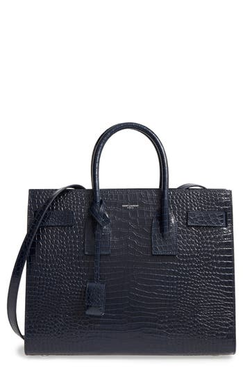 Saint Laurent Small Sac de Jour Croc Embossed Calfskin Leather Tote