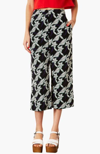 Main Image - Topshop Floral Crop Trousers (Petite)