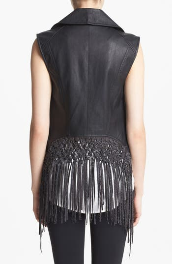Alternate Image 2  - ASTR Fringed Back Faux Leather Moto Vest