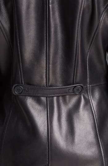 Alternate Image 3  - Kenneth Cole New York Button Front Leather Coat (Online Only)