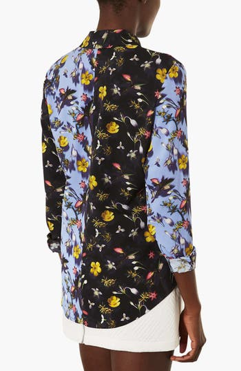 Alternate Image 2  - Topshop 'Tiny Blur' Floral Print Shirt
