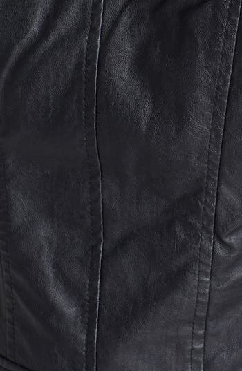 Alternate Image 3  - Collection B Hooded Faux Leather Moto Jacket (Juniors)