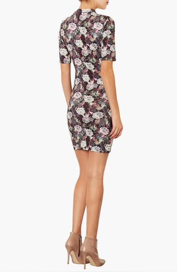 Alternate Image 2  - Topshop Lace Print Mock Neck Dress