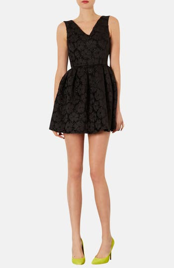 Main Image - Topshop Floral Jacquard Fit & Flare Dress
