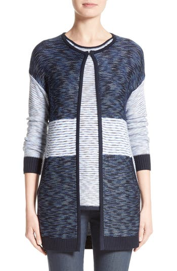 St. John Collection Chambray Effect Links Knit Cardigan