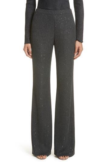 St. John Collection Rib Sequin Knit Flare Leg Pants