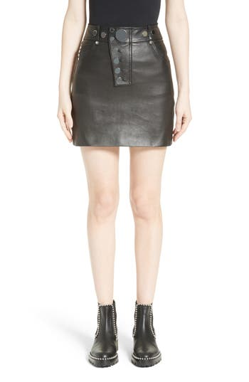 Alexander Wang Snap Leather Miniskirt
