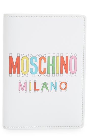 Moschino Paper Doll Multi Logo Leather Passport Case