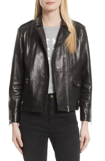 FRAME Lambskin Leather Moto Jacket