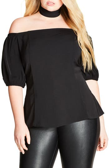 City Chic Neck Tie Off the Shoulder Top (Plus Size)