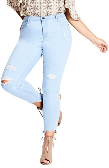 City Chic Ice Queen Crop Skinny Jeans (Plus Size)