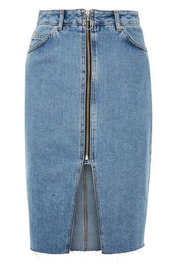 Topshop Zip Denim Skirt