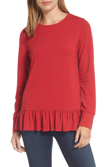 Halogen® Ruffle Hem Sweat..