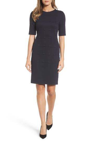 BOSS Hanelli Check Jacquard Sheath Dress