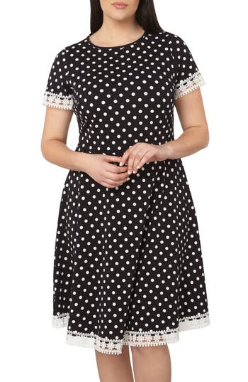 Dorothy Perkins Polka Dot Fit & Flare Dress (Plus Size)