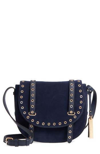 Vince Camuto Areli Suede & Leather Crossbody Saddle Bag