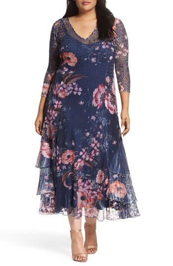 Komarov Print Chiffon Tiered Maxi Dress (Plus Size)