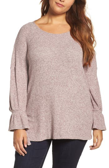 Lucky Brand Tie Sleeve Top (Plus Size)