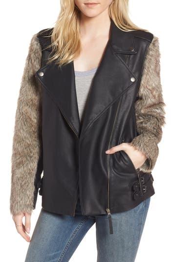Treasure & Bond Faux Fur Sleeve Moto Jacket