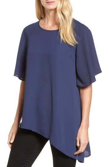Halogen® Short Sleeve Asymmetrical Top