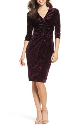 Gabby Skye Ruched Crushed Velvet Dress