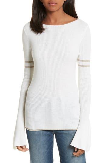 FRAME Metallic Knit Merino Wool Blend Sweater