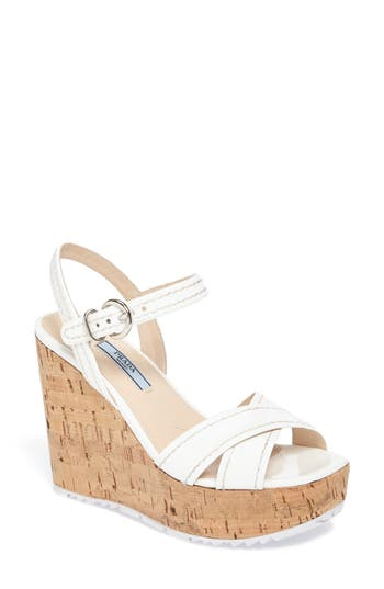 Prada Cork Wedge Sandal (Women)