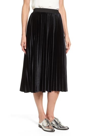 Halogen® Velvet Pleated Midi Skirt