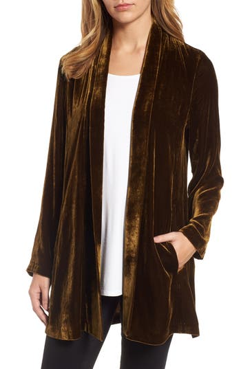 Eileen Fisher Shawl Collar Velvet Jacket (Regular & Petite)