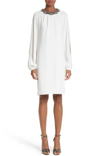 Carmen Marc Valvo Embellished Split Sleeve Shift Dress