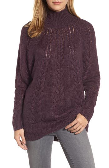 Caslon® Dolman Sleeve Cable Knit Tunic (Regular & Petite)