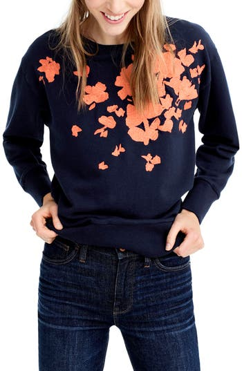 J.Crew Embroidered Flower Swea..