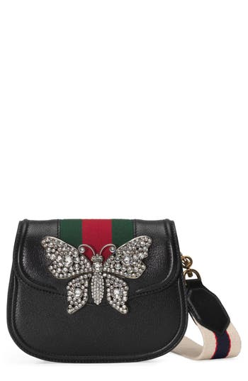 Gucci Small Linea Totem Crystal Butterfly Shoulder Bag