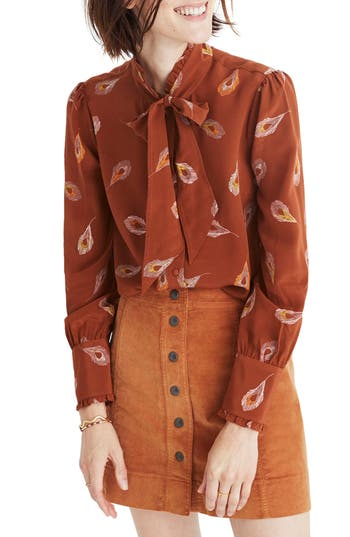 Madewell Feather Print Silk Tie Neck Blouse
