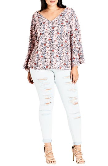 City Chic Vine Love Top (P..