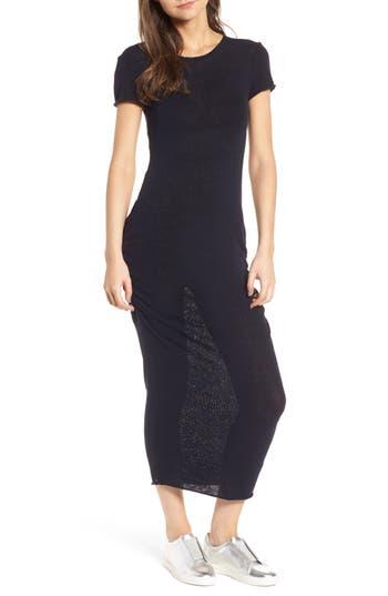 James Perse Shirred Silk Blend Knit Dress
