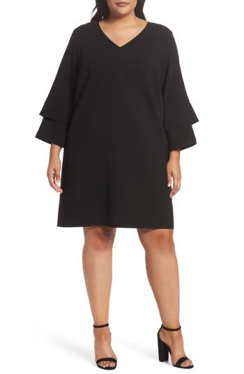 Lafayette 148 New York Velez Finesse Crepe Shift Dress (Plus Size)