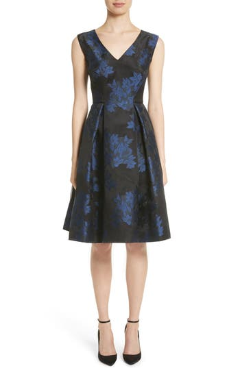 Zac Posen Floral Jacquard Party Dress