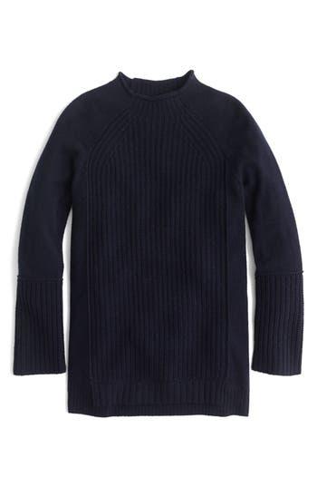 J.Crew New England Mock Neck Wool Tunic Sweater