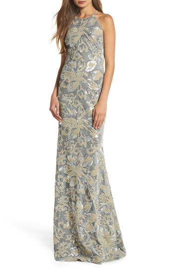 Badgley Mischka Sequin Embroidered Velvet Halter Gown